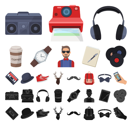 Style Hipster cartoon, black icons in set collection for design. Hipster Attributes and accessories vector symbol stock web illustration.