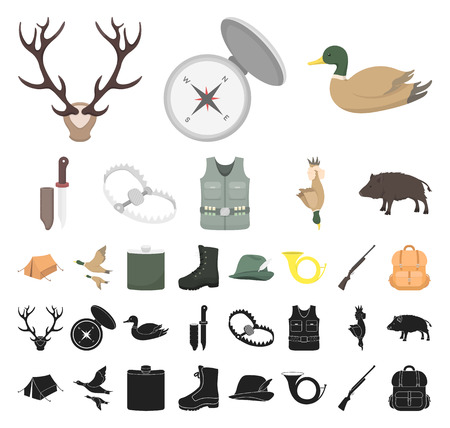 Hunting and trophy cartoon, black icons in set collection for design. Hunting and equipment vector symbol stock web illustration.