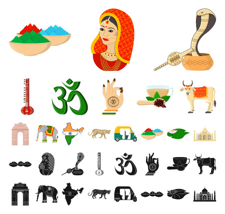 Country India cartoon, black icons in set collection for design.India and landmark vector symbol stock web illustration.