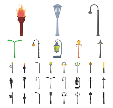 Lamp post cartoon, black icons in set collection for design. Lantern and lighting vector symbol stock web illustration. Illustration