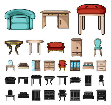Furniture and interior cartoon, black icons in set collection for design.Home furniture vector symbol stock web illustration. Illustration