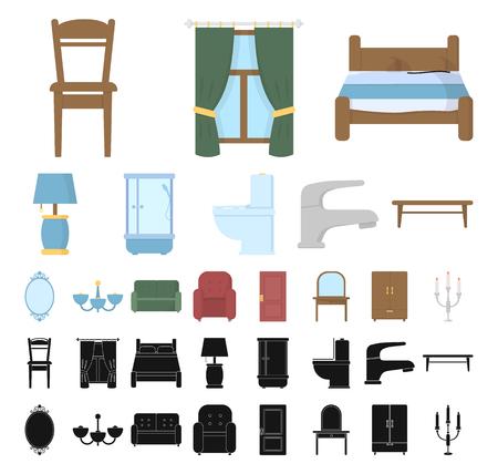Mobili e interni del fumetto, icone nere in insieme di set per il disegno. Mobili per la casa simbolo d'archivio web di vettore.