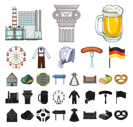 Country Germany cartoon, black icons in set collection for design. Germany and landmark vector symbol stock web illustration. Ilustração
