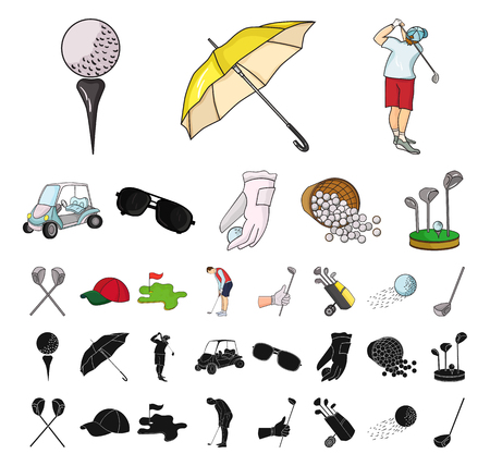 Golf and attributes cartoon, black icons in set collection for design.Golf Club and equipment vector symbol stock web illustration.