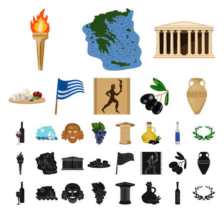 Country Greece cartoon, black icons in set collection for design.Greece and landmark vector symbol stock web illustration.