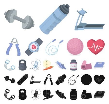 Gym and training cartoon, black icons in set collection for design. Gym and equipment vector symbol stock illustration.