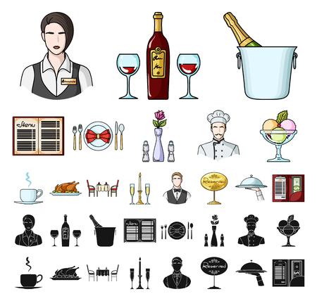 Restaurant- und Barkarikatur, schwarze Symbole in der Setsammlung für Design. Vergnügen, Nahrung und Alkoholvektorsymbolvorrat-Netzillustration.
