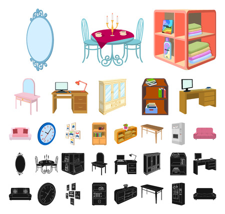 Furniture and interior cartoon, black icons in set collection for design. Home furnishings vector isometric symbol stock web illustration.