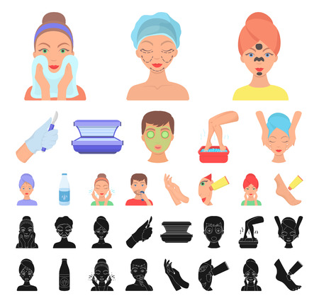 Skin care cartoon, black icons in set collection for design. Face and body vector symbol stock web illustration. Illustration