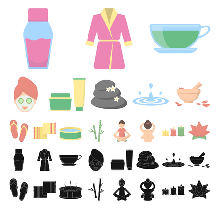 Spa salon and equipment cartoon, black icons in set collection for design. Relaxation and rest vector symbol stock web illustration.