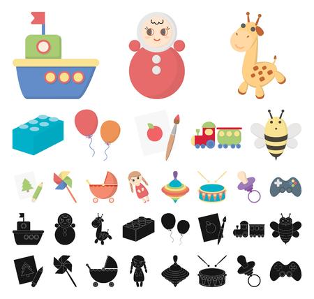 Childrens toy cartoon, black icons in set collection for design. Game and bauble vector symbol stock web illustration. Ilustração