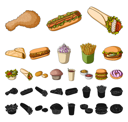 Fast food cartoon, black icons in set collection for design.Food from semi-finished products vector symbol stock web illustration. Standard-Bild - 113969163