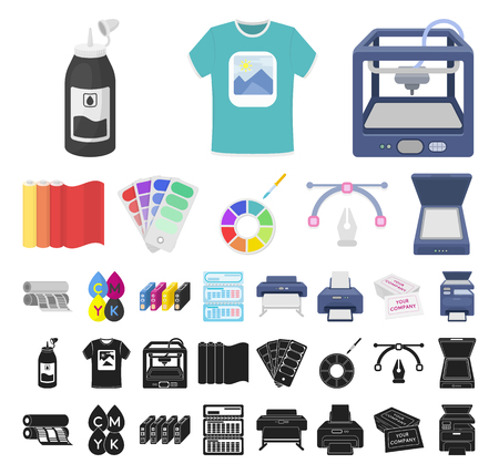 Typographical products cartoon, black icons in set collection for design. Printing and equipment vector symbol stock web illustration.