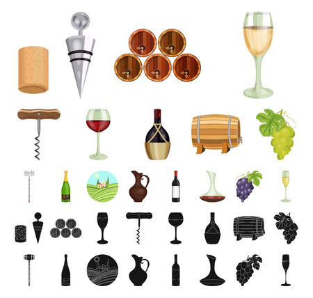 Wine products cartoon, black icons in set collection for design. Equipment and production of wine vector symbol stock web illustration. Vectores