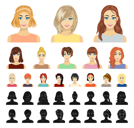 Types of female hairstyles cartoon, black icons in set collection for design. Appearance of a woman vector symbol stock web illustration.