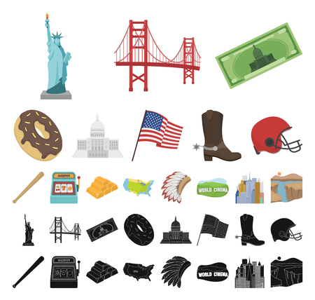 USA country cartoon, black icons in set collection for design.Travel and attractions vector symbol stock web illustration.