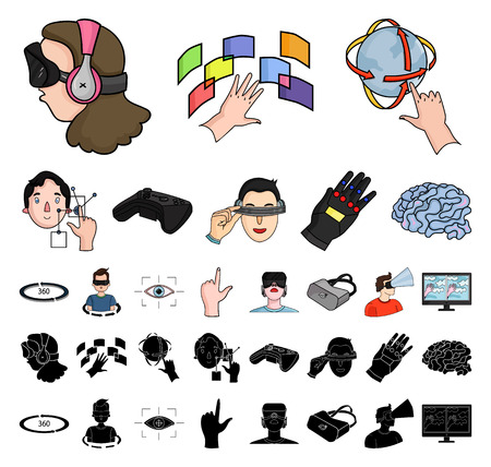 A virtual reality cartoon, black icons in set collection for design. Modern technology and equipment vector symbol stock web illustration.
