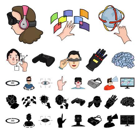 Una caricatura de realidad virtual, iconos negros de colección set de diseño. Ilustración de stock de símbolo de vector de tecnología moderna y equipo.