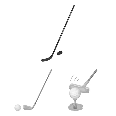 Vector design of stick and field. Set of stick and club stock vector illustration. Illustration