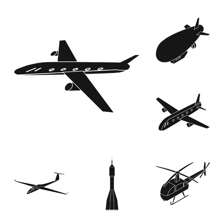 Vector design of transport and object icon. Set of transport and gliding  vector icon for stock.
