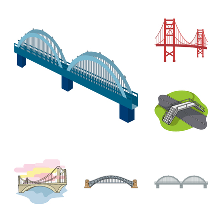 Vector illustration of bridge and construction symbol. Set of bridge and arch stock symbol for web.