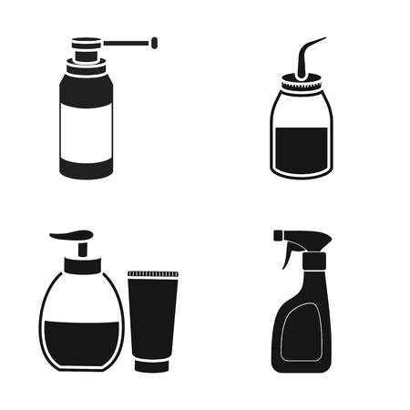 Vector illustration of sprayer and liquid icon. Collection of sprayer and pesticide stock symbol for web.