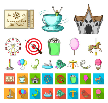 Amusement park cartoon,flat icons in set collection for design. Equipment and attractions vector symbol stock web illustration.