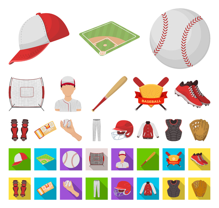 Baseball and attributes cartoon,flat icons in set collection for design.Baseball player and equipment vector symbol stock web illustration. Ilustração Vetorial