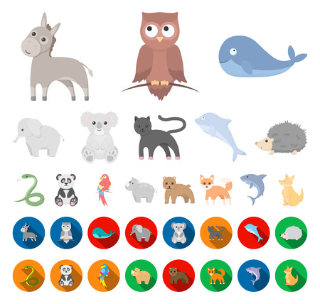 An unrealistic animal cartoon,flat icons in set collection for design. Toy animals vector symbol stock web illustration. Illustration