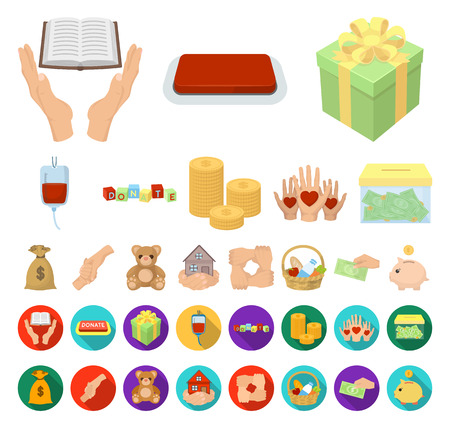 Charity and donation cartoon,flat icons in set collection for design. Material aid vector symbol stock web illustration.
