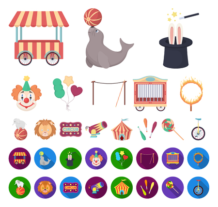 Circus and attributes cartoon,flat icons in set collection for design. Circus Art vector symbol stock web illustration.