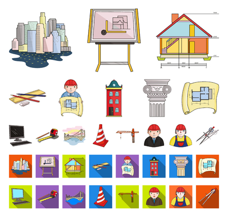 Architecture and construction cartoon,flat icons in set collection for design. Architect and equipment vector symbol stock web illustration.  イラスト・ベクター素材