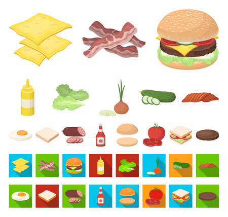 Burger and ingredients cartoon,flat icons in set collection for design. Burger cooking vector symbol stock web illustration.