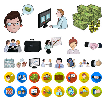 Business Conference And Negotiations cartoon,flat icons in set collection for design.Business and training vector symbol stock web illustration.