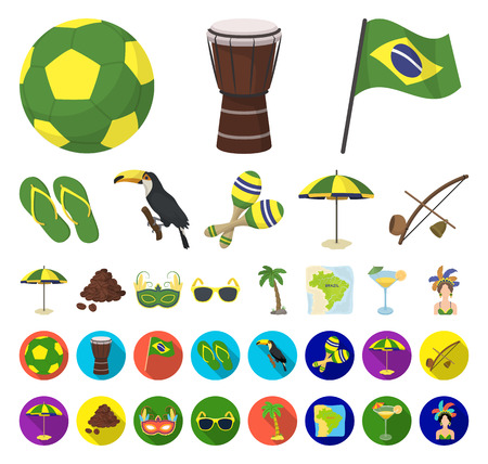 Country Brazil cartoon,flat icons in set collection for design. Travel and attractions Brazil vector symbol stock web illustration.