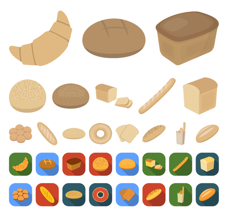 Types of bread cartoon,flat icons in set collection for design. Bakery products vector symbol stock web illustration.  イラスト・ベクター素材