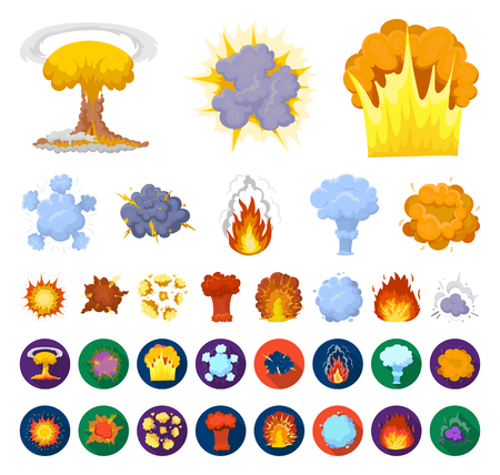 Different explosions cartoon,flat icons in set collection for design.Flash and flame vector symbol stock web illustration.