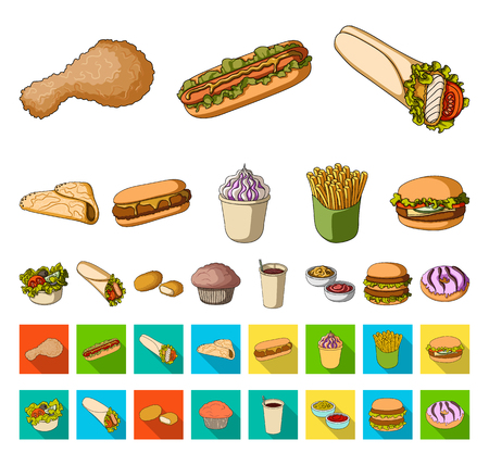 Fast food cartoon,flat icons in set collection for design.Food from semi-finished products vector symbol stock web illustration.