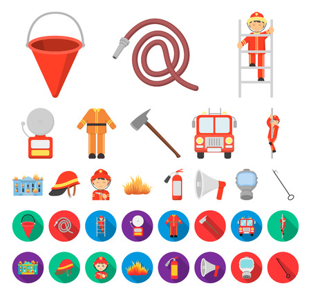 Fire Department cartoon,flat icons in set collection for design. Firefighters and equipment vector symbol stock web illustration.