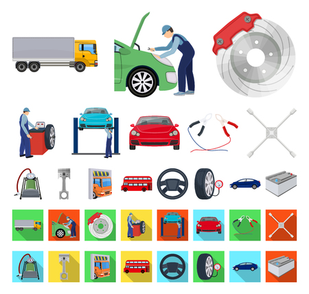 Car, lift, pump and other equipment cartoon,flat icons in set collection for design. Car maintenance station vector symbol stock illustration web.