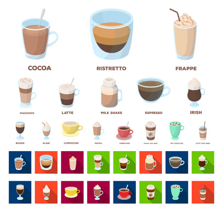 Different kinds of coffee cartoon,flat icons in set collection for design. Coffee drink vector symbol stock web illustration. Vector Illustration