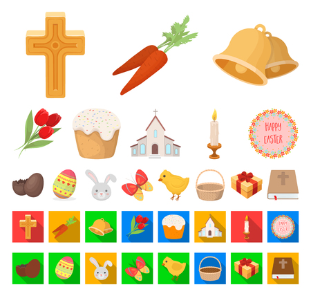 Easter is a Christian holiday cartoon,flat icons in set collection for design. Easter attributes vector symbol stock web illustration.
