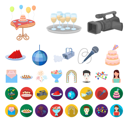 Event Organisation cartoon,flat icons in set collection for design.Celebration and Attributes vector symbol stock web illustration.