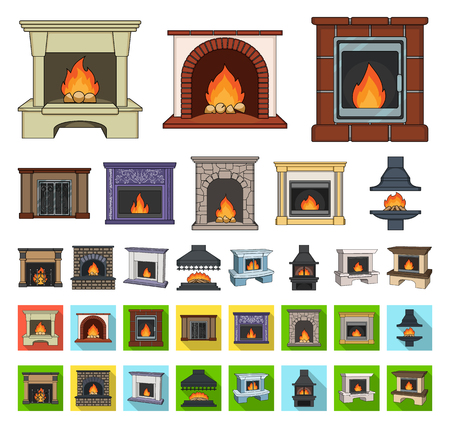 Different kinds of fireplaces cartoon,flat icons in set collection for design.Fireplaces construction vector symbol stock web illustration.