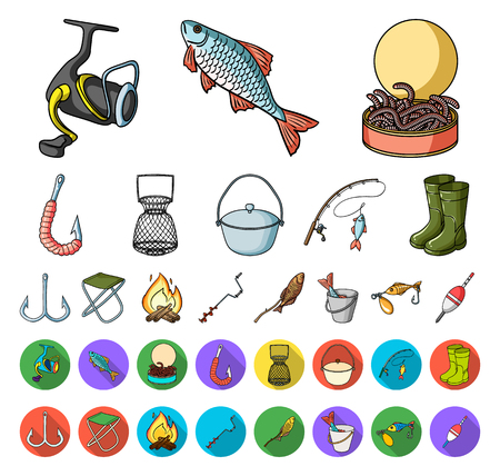Fishing and rest cartoon,flat icons in set collection for design. Tackle for fishing vector symbol stock web illustration. Vettoriali