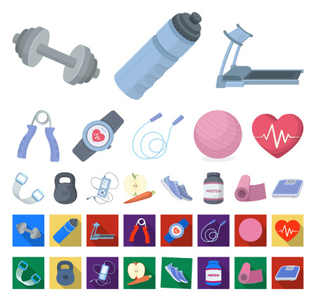 Gym and training cartoon,flat icons in set collection for design. Gym and equipment vector symbol stock illustration.