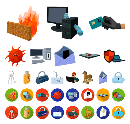 Hacker and hacking cartoon,flat icons in set collection for design. Hacker and equipment vector symbol stock web illustration.