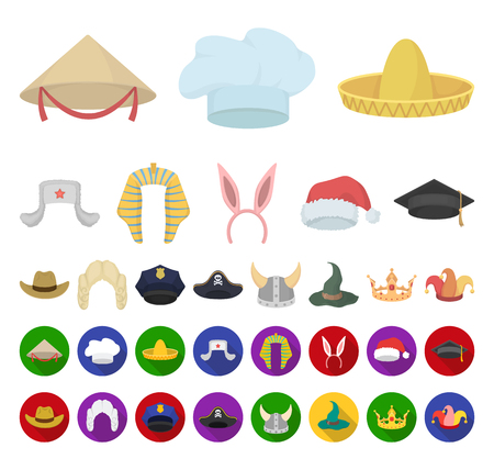 Different kinds of hats cartoon,flat icons in set collection for design.Headdress vector symbol stock web illustration.