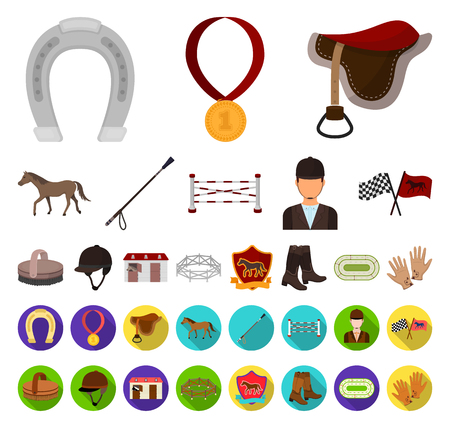 Hippodrome and horse cartoon,flat icons in set collection for design. Horse Racing and Equipment vector symbol stock web illustration. Иллюстрация