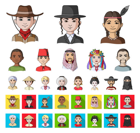 The human race cartoon,flat icons in set collection for design. People and nationality vector symbol stock web illustration.